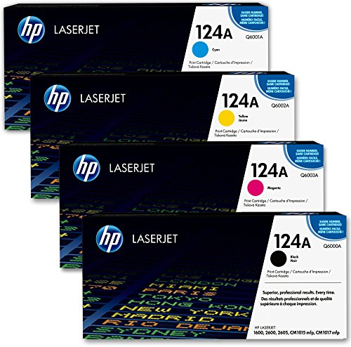 HP 124A Original Toner Multipack (Schwarz, Blau, Gelb, Magenta) für HP Color Laserjet 2600, 2605, 1600, CM1016, CM1017