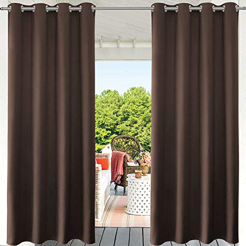 """PRAVIVE Outdoor Patio Blackout Curtains - Grommet Waterproof Curtains for Outside Sun Blocking Shades for Patio Porch Blinds Privacy Pergola & Gazebo Drapes, 52"""" W x 84"""" L, Coffee Brown, 1 Pc"""