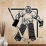 Pegatina de pared de vinilo para sala de estar de jugador de hockey sobre hielo