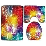 Set de alfombras de baño Astrología Ombre Color del arco iris Abstracto Asrológico Formas solares Símbolos de manchas Alfombra de baño lavable + Alfombrilla de contorno + Funda de asiento de inodoro,