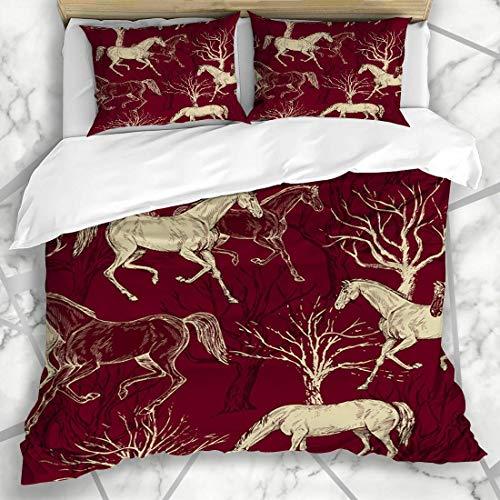 Juegos de fundas nórdicas Doma clásica Rojo Abstracto Vintage Caballos Ganadores Árboles Patrón creativo Naturaleza occidental Pintura Azulejo Ropa de cama de microfibra con 2 fundas de almoha