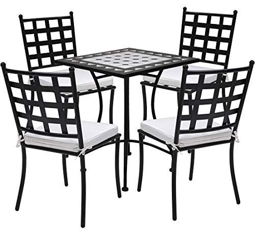 TessaHome Set de 4 Sillas de forja Negra y Mesa cuadrada cerámica de 60x60cm (Negro)