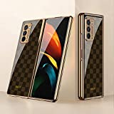 Hülle für Samsung Galaxy Z Fold2 5G Hardcase Stoßfest Schutzhülle PC + 9H Gehärtete Glasabdeckung, Superdünne handyhülle für Samsung Galaxy Z Fold2 5G, Gitter Brown