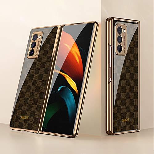 Custodia per Samsung Galaxy Z Fold2 5G Cover, PC+9H Vetro Temperato Case per Telefono Ultrasottile Protettiva Custodia Compatibile con Samsung Galaxy Z Fold2 5G, Grid Brown