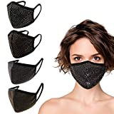 4 Pack Made in USA Unisex Sequin/Metallic 3D Face Mask – Protective, Comfortable and Breathable Mouth and Nose Cover