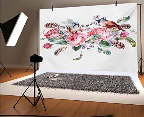 Flores 30 x 10 pies fondo de vinilo para fotos, efecto de acuarela, diseño vintage con rosas pájaros y plumas, para fotos de fiesta de cumpleaños