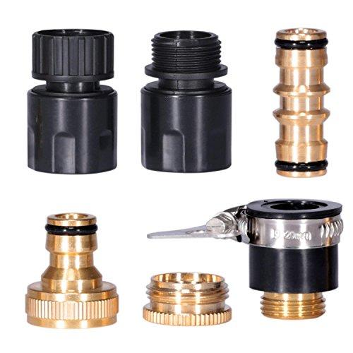 IDESION adaptadores Tubo Agua Conectores para Manguera Jardín Racores para Todos los Tipos de Manguera riego [6Juego]