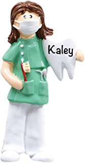 Dentist/Dental Hygienist - Girl - (Unique Christmas Tree Ornament - Classic Decor for A Holiday Party - Custom Decorations for Family Kids Baby Military Sports Or Pets)