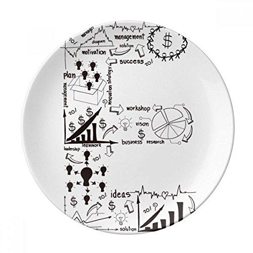 DIYthinker Travail Simple Brainstorm Illustration Courbe données Porcelaine décorative Assiette à Dessert 8 Pouces Dîner Accueil Cadeau 21cm diamètre Multicolor