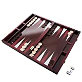 GrowUpSmart Backgammon Set by Classic 14' Folding Wooden Board Game with 30 Checkers, Doubling cube, Dice