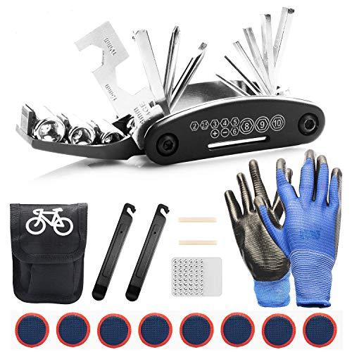 TOLIANCLE Fahrrad-Multitool, 16 in 1 Werkzeuge für Fahrrad Reparatur Set Multifunktionswerkzeug Reparatur Fahrradwerkzeug Tool, Werkzeugset Fahrrad mit Tasche, Selbstklebendes Fahrradflicken usw