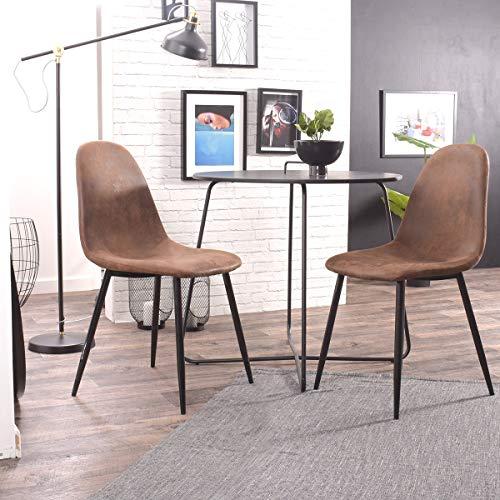 FURNISH1 Juego de 2 sillas de Comedor Vintage de Cuero marrón Antiguo Silla de Oficina Silla de Asi