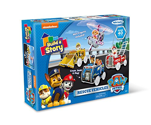 Nickelodeon Build A Story Paw Patrol Rescue Vehicles Building Playset, Multi-Color