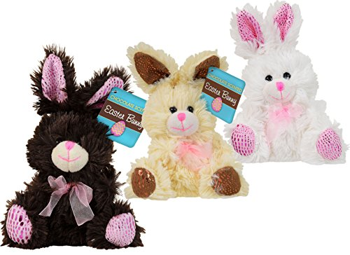 3 Small Easter Bunny Rabbit Plush Toy for Kids Boys Girls Baby Basket Bundle of 3 (Chocolate-Scented - Brown, Cream, White)