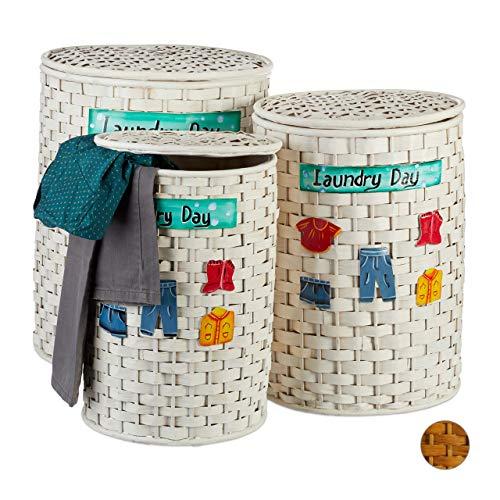 Relaxdays Bambus Wäschetonne 3er Set, Wäschekorb mit Deckel, herausnehmbarer Stoffbezug, luftdurchlässiger Korb, weiß