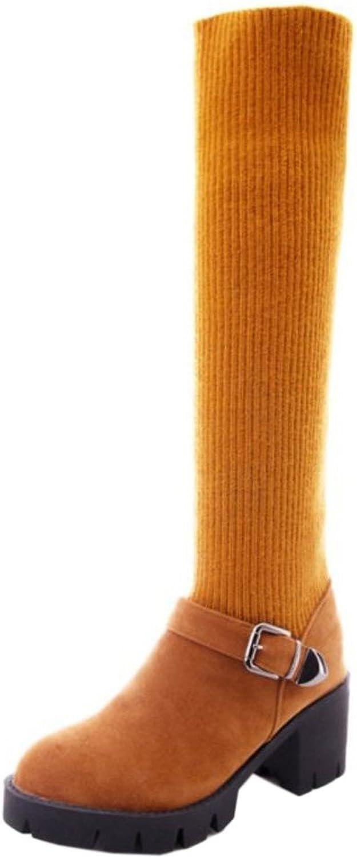 TAOFFEN Women's Knit Boots Pull On