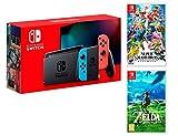 Console Nintendo Switch 32Gb Rouge/Bleu Néon + Manette Joy-Con droite/guche, support Joy-Con station d'accueil Nintendo Switch un câble HDMI, un adaptateur secteur Nintendo Switch - Une paire de dragonnes Joy-Con inclus: Super Smash Bros: Ultimate + ...