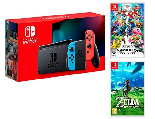 Nintendo Switch Rouge/Bleu Néon 32Go [Nouveau modèle] Super Smash Bros: Ultimate + Zelda: Breath of the Wild