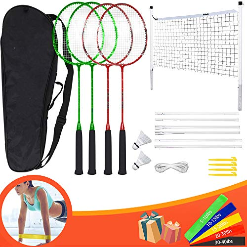 Hook Badminton Set with net for Garden, Badmington Set with Net Badminton Rackets for Kids Adult Perfect Outdoor Games/Lawn Game Includes 4 Badminton Racquets, 2 Badminton, 5 Exercise Bands (red)