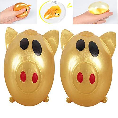lonko5DING Antistress Decompression Splat Ball Vent Toys Smash Pig Toy Venting Water Ball Venting Pig Head Decompression Whole Venting Fruit Venting Gold Pig (2PCS)