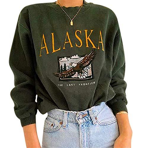 Yesgirl Hoodie Damen Langarm V-Ausschnitt Kordelzug Kapuzenpullover Gestreift Farbblock Lässige Pullover Sweatshirts mit Taschen B Grün L