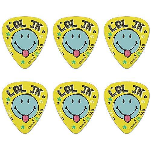 LOL JK Smiley-Zunge nur ein Scherz Laugh Laugh Out Offiziell lizenzierte Neuheit Guitar Picks Medium Gauge - 6er-Set