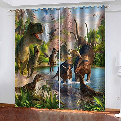 LLWERSJ Vorhänge Blickdicht Jura-Dinosaurier Kinder Vorhang Blickdicht Thermovorhang Verdunkelungsvorhänge mit Ösen für Wohnzimmer Schlafzimmer Kinderzimmer 2er Set B75x H166cm