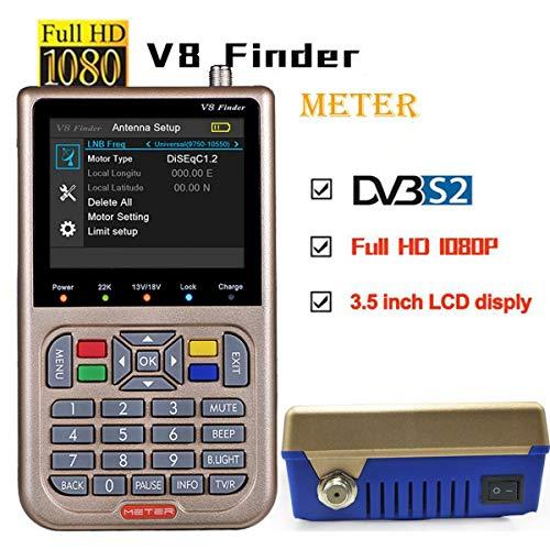 FOOSKOO Satelliten-Finder, V8 Satellitenfinder, TV-Empfänger, Sat-Detektor, HD 1080P FTA-3,5-Zoll-LCD-Satellitenantennen, Digitale Satellitensysteme Satellite Finder Meter