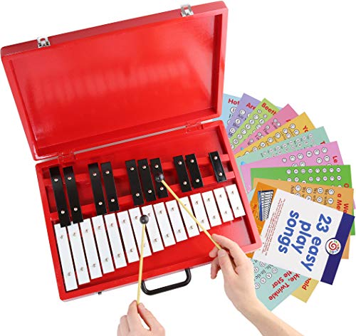 Glockenspiel 25-Note Chromatic Xylophone in Red Wooden Case with...