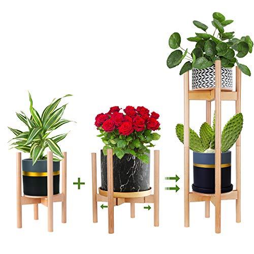 Multi-Tier Soporte para Plantas Ajustable,Moderno Soporte para macetas, para Interiores y Exteriores Jardinera ,Log Color de 2 unidade (Planta y Maceta NO Incluidas)