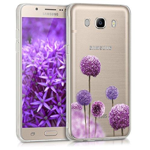 kwmobile Funda Compatible con Samsung Galaxy J5 (2016) DUOS - Carcasa de TPU y Flores moradas en Rosa Fucsia/Violeta/Transparente