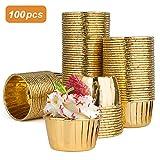 Diealles Shine Pirottini da Forno Alluminio, 100 Pezzi Pirottini Carta per Tortine Muffin, Baking Cup Oro
