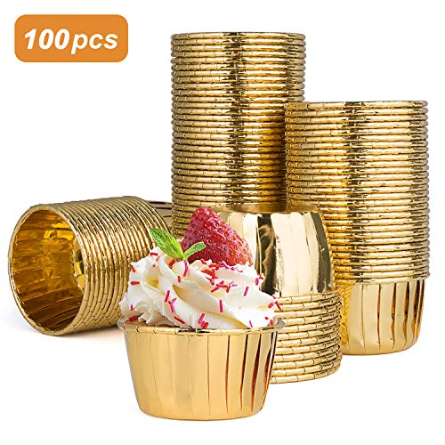 Diealles Shine Muffinförmchen Papier, 100 Stück Aluminium-Folien Papierbackförmchen für Muffins und Cupcakes (Gold)