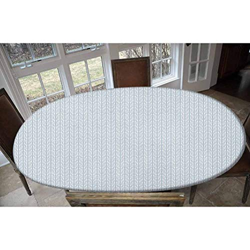 Anchor Elastic Polyester Fitted Table Cover,Up and Down Navy Figures Contiguous Design Monochrome Marine Tiling Pattern Decorative Oblong/Oval Elastic Fitted Tablecloth,Fits Tables up to 48' W x 68' L