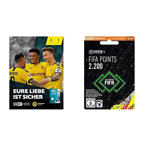 ESET Internet Security 2020 BVB Edition   3 Geräte   1 Jahr  Download + FIFA 20 Ultimate Team - 2200 FIFA Points - PC Code - Origin