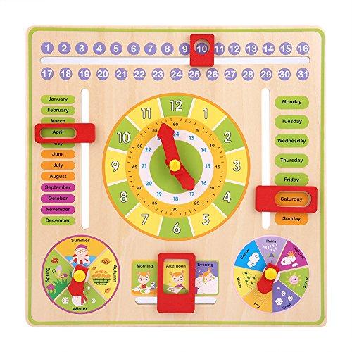 Hztyyier Kinder Lernuhr aus Holz Spielzeug Baby frühe pädagogische multifunktionale Holz Uhr Spielzeug Zeit Datum Saison Wetter