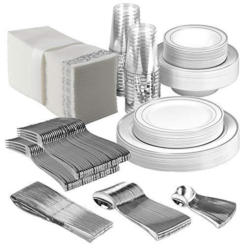 25 Guest Disposable Silver Dinnerware Set | Heavy Duty Plastic Plates, Cups, Silverware & Napkins. 50 Forks, 25 Spoons, 25 Dessert Spoons, 25 Knives, 25 Dinner Plates, 25 Dessert Plates, 25 Soup Bowls