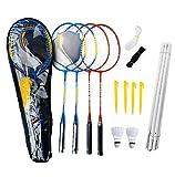 ZZICEN Badminton Set - Portable Badminton Set - Adult and Kids Badminton Net - Perfect Backyard/Lawn Game - Includes 4 Badminton Racquets