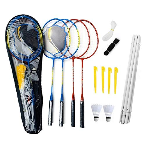 ZZICEN Badminton Set - Portable Badminton Set - Adult and Kids Badminton Net - Perfect Backyard/Lawn Game - Includes 4 Badminton Racquets