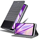 Cadorabo Hülle für LG Q60 in GRAU SCHWARZ - Handyhülle mit Magnetverschluss, Standfunktion & Kartenfach - Hülle Cover Schutzhülle Etui Tasche Book Klapp Style