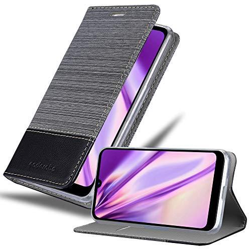Cadorabo Hülle für LG Q60 in GRAU SCHWARZ – Handyhülle mit Magnetverschluss, Standfunktion & Kartenfach – Hülle Cover Schutzhülle Etui Tasche Book Klapp Style