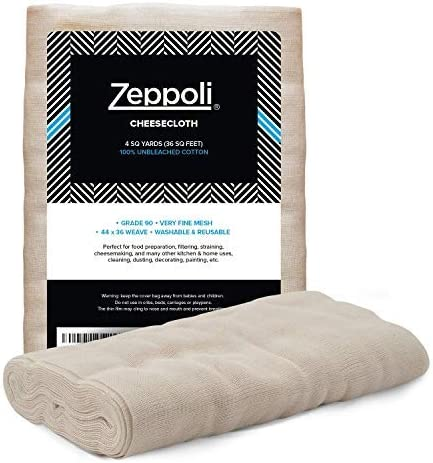 """new arrival Zeppoli Unbleached Grade 90 Cheesecloth - 100% Fine Cotton Reusable Fabric 