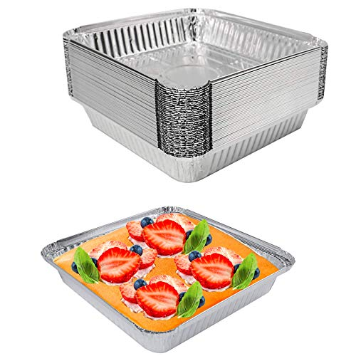 Loaf Pans for Bread (40 Pack) Aluminum Pans 8.6″ x 8.6″ Aluminum Foil Disposable Stream Table Pan for Cooking, Heating, Storing, Prepping Food