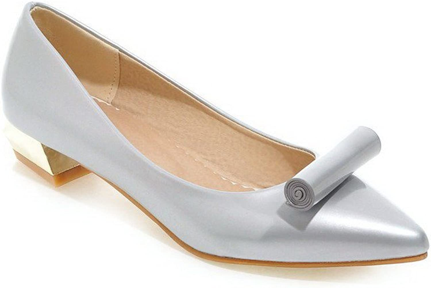 AmoonyFashion Women's Pointed Closed Toe Pull On Patent Leather Solid Low Heels Pumps-shoes