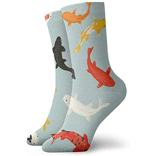 Joy Edward - Calcetines acolchados de algodón para mujer Koi Fish Carpe japonesa Full Frame Fashion Cute Sock