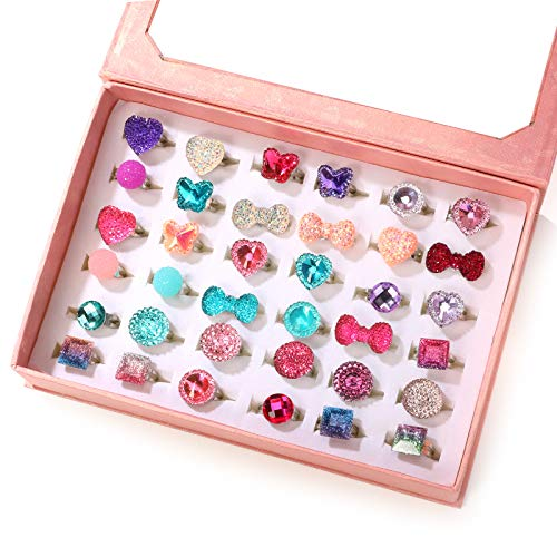 PinkSheep Little Girl Jewel Rings in Box, Adjustable, No duplication, Girl Pretend Play and Dress Up...