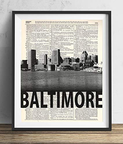 Baltimore Skyline With Bold Name Dictionary Art Print 8x10