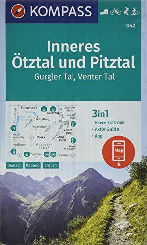 KOMPASS Wanderkarte Inneres Ötztal und Pitztal, Gurgler Tal, Venter Tal: 3in1 Wanderkarte 1:25000 mit Aktiv Guide inklusive Karte zur offline ... Langlaufen. (KOMPASS-Wanderkarten, Band 42)