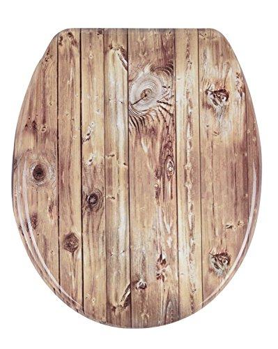 Sanwood 6163600 WC-Sitz Chalet mit Absenkautomatik Duroplast 3-seitiges Holz-Dekor