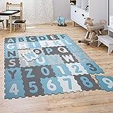 Paco Home Tapis Puzzle Jeux Tapis Mousse Bébé Enfants Chiffres Lettres Pastel 36Pièces, Dimension:32x32 cm x 36 piècs, Couleur:Bleu